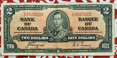 Bank of Canada King George 1937 2 Dollar Banknote Coyne Towers L/R 3825022 RARE
