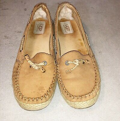 0ba1a1dd802 UGG CHIVON SKIP-LACE Espadrilles Brown Leather Mocs Flat Loafers Size 8  womens