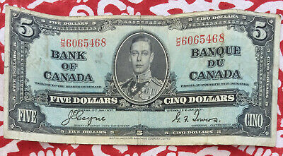 Bank of Canada King George 1937 5 Dollar Banknote H/S 6065468 OFF-CENTRE - RARE