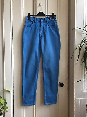 87d1581a Vintage 90s Versace Retro Blue High Waist Urban Tapered Mom Trousers Jeans  10 28
