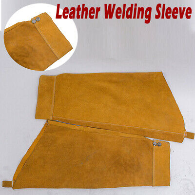 A Pair of Leather Welding Sleeves Arm Sleeve Protective Splatter Heat-resistant
