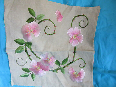 Vintage antique ARTS and CRAFTS silk embroidery pink green flowers large square