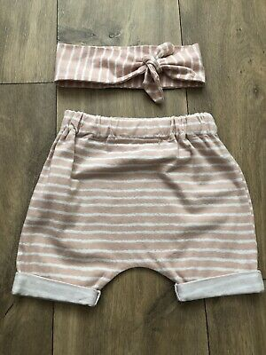Girls Handmade Pink Stripe Shorts & Tie Knot Headband 18-24 Insta Sew In Love