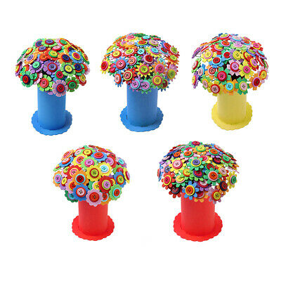 DIY Flowers Colorful Mixed Buttons Craft Felt Bouquets Kit Childrens Gifts Decor