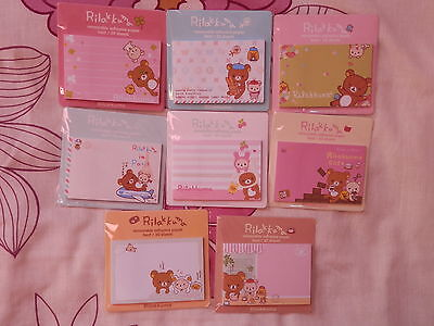 Cute Rilakkuma Sticky Memo Notes - 7 Pack Designs - 30 Sheets - Brand New!