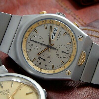 HEUER Rare Kentucky 7750 Valjoux Automatic Chronograph Vintage 1970 Steel Gold