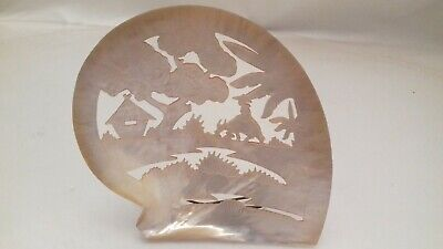 Vintage Antique Chinese Carved Mother Of Pearl Large Shell Plaque