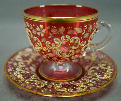 Moser Bohemian Enameled Ivory & Gold Floral Cranberry Glass Cup & Saucer 1880 A