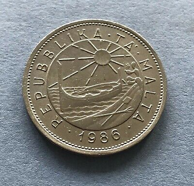 Maltese 25 cents Copper-Nickel coin 1986. Ghirlanda Flower. Fine Condition