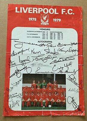 Liverpool Fc Facsimile autograph sheet  & teamgroup 1978/79 single sheet