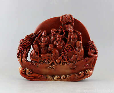 Collect China Old Shoushan Stone Hand Carve 8 Immortals Moral Auspicious Statue