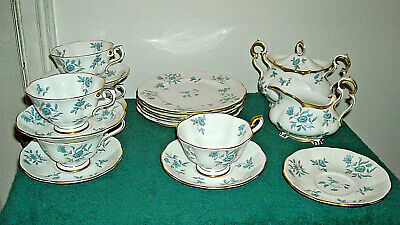 Royal Albert Greensleeves Aqua Tea Set Cups Saucer Sugar Creamer Plates 20 Pcs