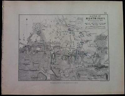 Map, Battle Plan MONTMIRAIL c1814 Napoleon War, Engraved A K Johnston, Hcol