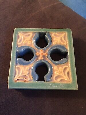 Beautiful Vintage Arts & Crafts Thick Pottery Tile Grueby Fine Craftsmen Style