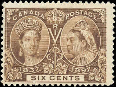 Mint Canada 6c 1897 Scott #55 Diamond Jubilee Issue Stamp Hinged