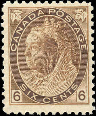 1898 Mint Canada Scott #80 6c Queen Victoria Numeral Issue Stamp Hinged