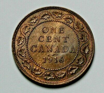 1916 CANADA George V Coin - Large Cent (1¢) - AU+ red/brown toned-lustre