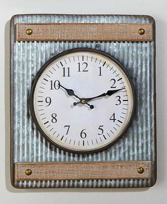Farmhouse Corrugated Wall Clock Rustic Primitive Country Decor Battery Gift