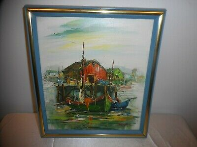"""Framed & Signed Oil Painting Of Fishing Harbor11"""" X 10"""" Gorgeous & Good Cond!"""