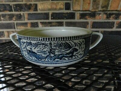 Currier And Ives Royal China Casserole Dish Blue Dinnerware No Lid