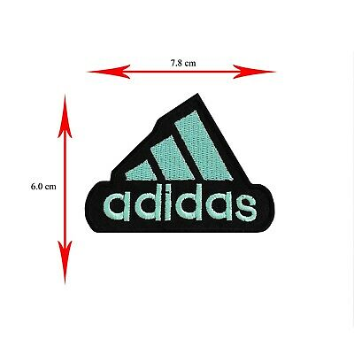 SPORTS BRAND LOGO IRON ON//SEW ON EMBROIDERED PATCH BADGE ADIDAS BLACK//WHITE