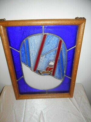 """Stained Glass Wood Framed  Window Hanging Of Snow Skiing 15"""" X 12"""" - Excellent!"""