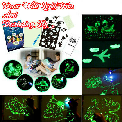 Draw With Light Fun And Developing Toy UV Luminous Pen Drawing Board Gift Kids L