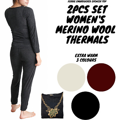 2pcs Set Women's Merino Wool Pants & Top Underwear Leggings Thermal Thermals