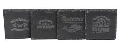 New Pack of 4 Slate Drink Coasters – Vintage Design! Bourbon Brandy Rum Whiskey