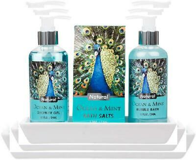 3 Piece Lovely Ocean Mint Body & Bath Peacock Gift Set with Ceramic Tray -...