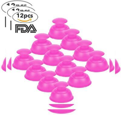 Silicone Cupping Therapy Sets Cups Massage, 12pcs Professional Vacuum Pink
