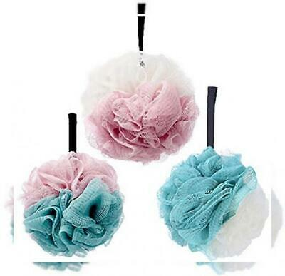 G2PLUS 3-Pack Bath Puff Soft 1x White/Green, Green/Pink and White/Pink