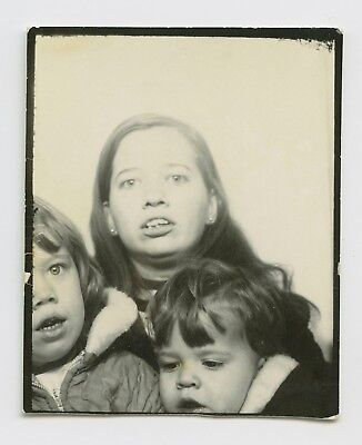 Photo Booth Portrait - Mom Juggles Little Rascals - Iconic American Vtg Snapshot