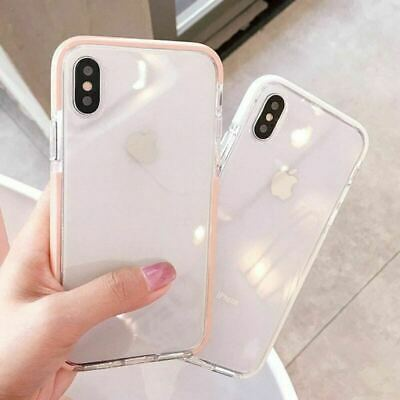 iPhone 11 Pro MAX XR XS 8 Plus Clear Shockproof Tough Silicone Bumper Cover Case