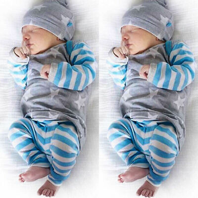 UK Newborn Baby Boy Girl Autumn Clothes Tops Romper Striped Leggings Hat Outfits