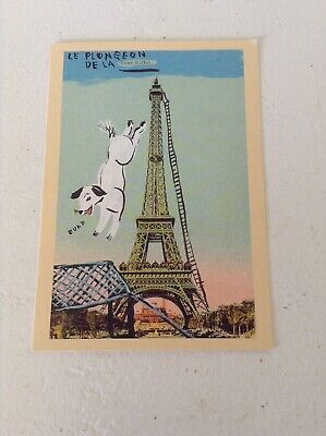 Vtg Eiffel Tower Mid Century Paris France Postcard Whimsical Dog jumping