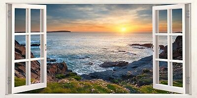 North Cornwall Rugged Cliffs 3D Effect Window Canvas Picture Wall Art Prints