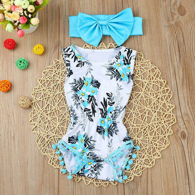 Newborn Toddler Kids Baby Girls Print Romper Jumpsuit Suit+Headband Outfits Sets