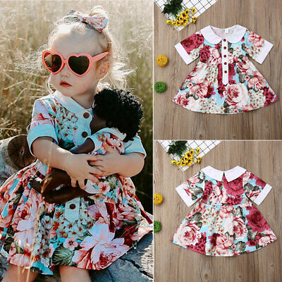 AU 2019 Sunsuit Toddler Baby Girls Kid Party Flower Dress Sundress Skirt Clothes