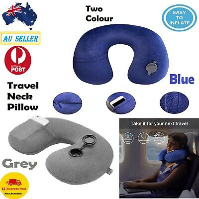 Soft Inflatable Travel Pillow Air Cushion Neck Rest Compact For Flight Car Plane