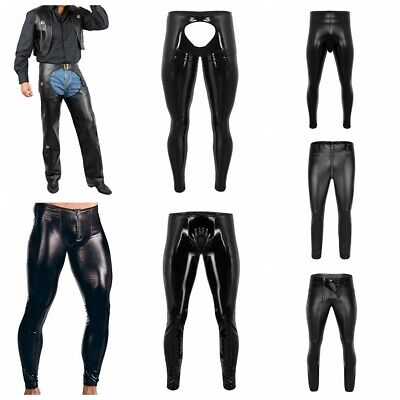 Mens Sexy Shiny Leather Pants Wet Look Zipper Pouch Long Tight Trousers Clubwear