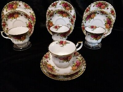 """Four Royal Albert """" Old Country Roses"""" Trios.  Excellent Condition"""