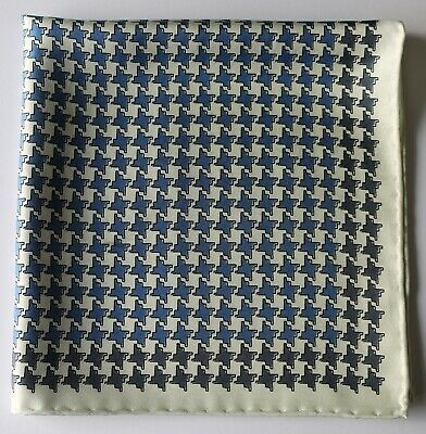 White & blue four point star print Silk pocket square 42cm. Hand rolled
