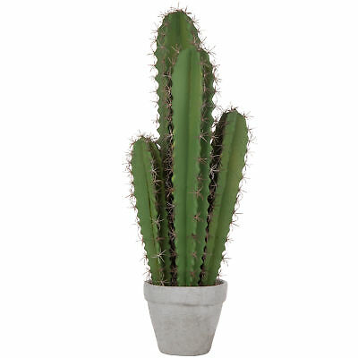 MyGift Artificial 23-Inch Hedge Cactus Plant with Gray Cement Planter