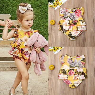 Cute Newborn Infant Baby Girls Clothes Ruffle Sleeve Floral Romper Dress Outfit