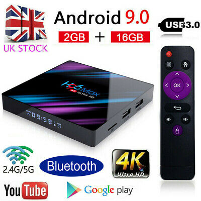 2019 H96 MAX RK3318 Android 9.0 2G+16GB Quad Core 4K Smart 4.0 Top LED TV Box UK