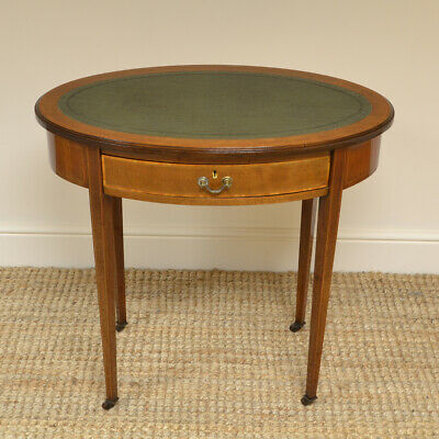 Elegant Victorian Oval Mahogany Small Antique Writing Table