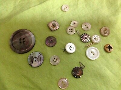 Mother-of-Pearl+Buttons Scarce mixed age Lot Antique&Vintage Old Collection*FREE