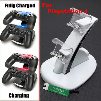 White Controllers Dual USB Port Charger Stand Charging Dock Station For Sony PS4