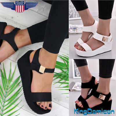 df3eb6a0a6 New Womens Wedges Middle Heel Platform Sandals Ladies Open Toe Chunky Shoes  Size
